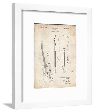 PP121- Vintage Parchment Fender Broadcaster Electric Guitar Patent Poster-Cole Borders-Framed Giclee Print