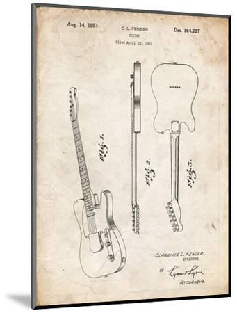 PP121- Vintage Parchment Fender Broadcaster Electric Guitar Patent Poster-Cole Borders-Mounted Giclee Print