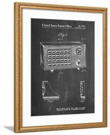 PP1126-Chalkboard Vintage Table Radio Patent Poster-Cole Borders-Framed Giclee Print