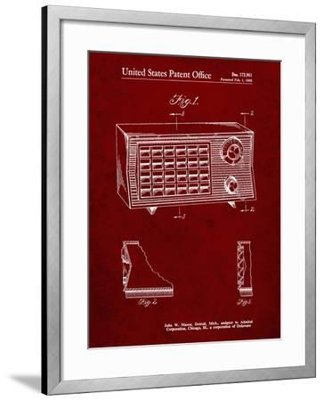 PP1126-Burgundy Vintage Table Radio Patent Poster-Cole Borders-Framed Giclee Print
