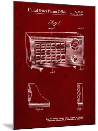 PP1126-Burgundy Vintage Table Radio Patent Poster-Cole Borders-Mounted Giclee Print