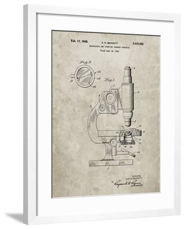 PP64-Sandstone Antique Microscope Patent Poster-Cole Borders-Framed Giclee Print