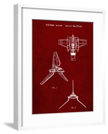 PP100-Burgundy Star Wars Lambda Class T-4a Imperial Shuttle Patent Poster-Cole Borders-Framed Giclee Print