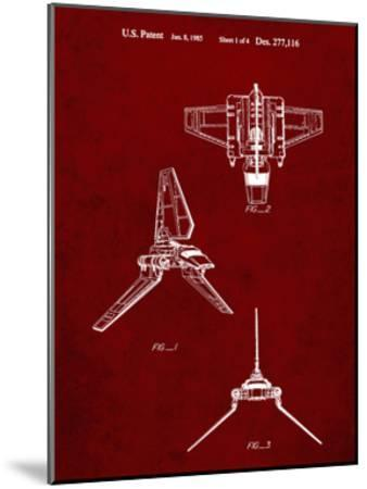 PP100-Burgundy Star Wars Lambda Class T-4a Imperial Shuttle Patent Poster-Cole Borders-Mounted Giclee Print