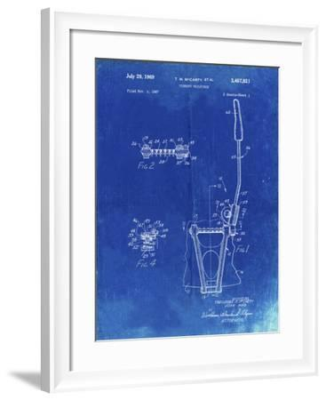 PP1122-Faded Blueprint Vibrato Tailpiece Patent Wall Art Poster-Cole Borders-Framed Giclee Print
