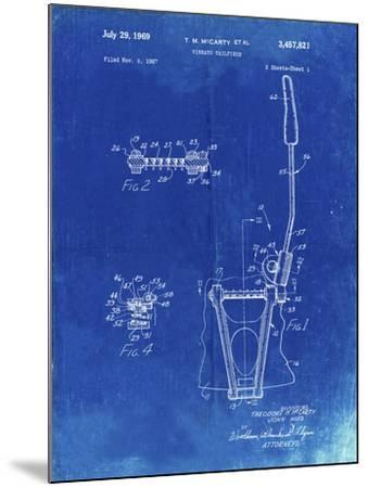 PP1122-Faded Blueprint Vibrato Tailpiece Patent Wall Art Poster-Cole Borders-Mounted Giclee Print
