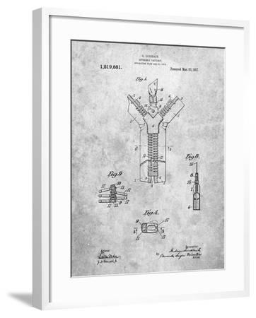PP1143-Slate Zipper 1917 Patent Poster-Cole Borders-Framed Giclee Print