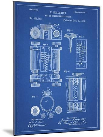 PP110-Blueprint Hollerith Machine Patent Poster-Cole Borders-Mounted Giclee Print