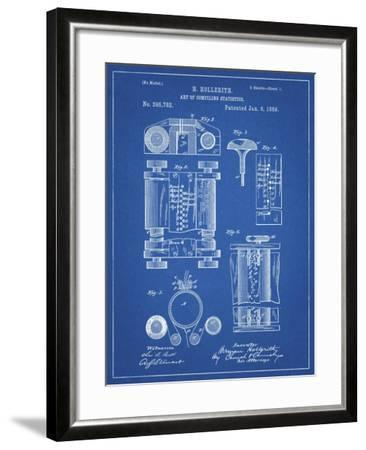 PP110-Blueprint Hollerith Machine Patent Poster-Cole Borders-Framed Giclee Print