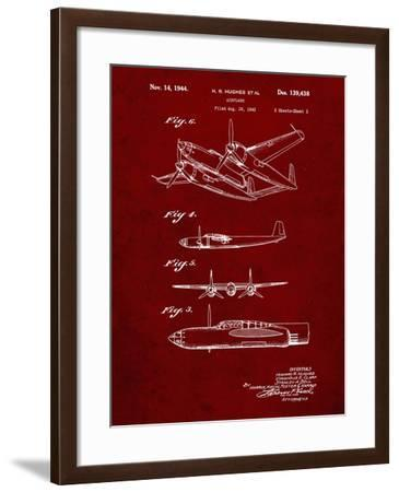 PP69-Burgundy Lockheed XP-58 Chain Lightning Poster-Cole Borders-Framed Giclee Print