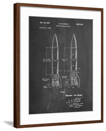 PP1129-Chalkboard Von Braun Rocket Missile Patent Poster-Cole Borders-Framed Giclee Print