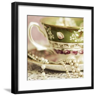 Antique Cups and Saucers with Pearls 02-Tom Quartermaine-Framed Giclee Print