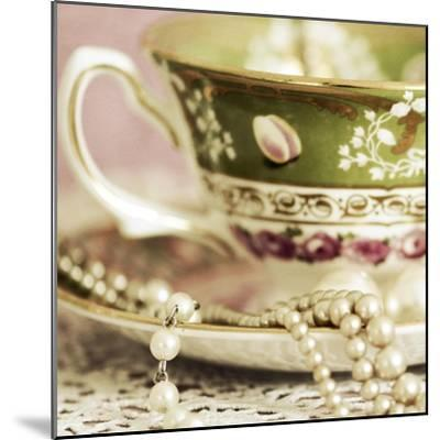 Antique Cups and Saucers with Pearls 02-Tom Quartermaine-Mounted Giclee Print