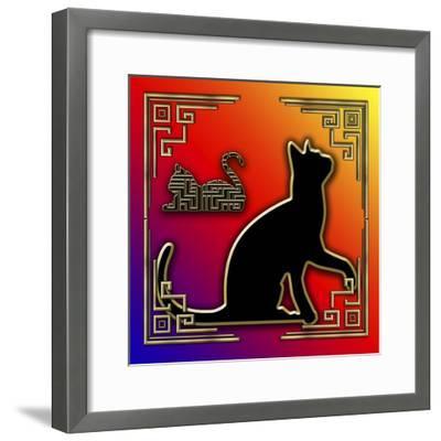 Deco Cats 3 Frame 2-Art Deco Designs-Framed Giclee Print