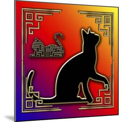 Deco Cats 3 Frame 2-Art Deco Designs-Mounted Giclee Print