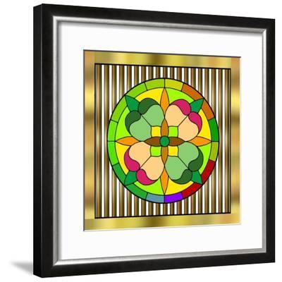 Circle on Bars 2-Art Deco Designs-Framed Giclee Print