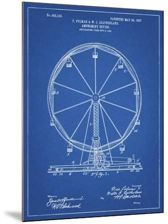PP167- Blueprint Ferris Wheel Poster-Cole Borders-Mounted Giclee Print
