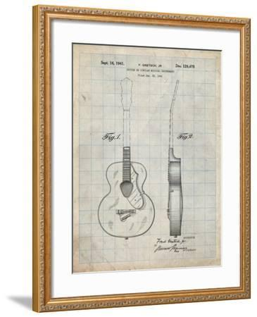 PP138- Antique Grid Parchment Gretsch 6022 Rancher Guitar Patent Poster-Cole Borders-Framed Giclee Print