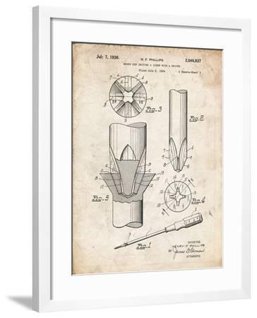 PP153- Vintage Parchment Phillips Head Screw Driver Patent Poster-Cole Borders-Framed Giclee Print