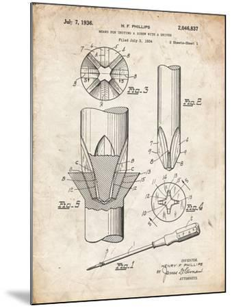PP153- Vintage Parchment Phillips Head Screw Driver Patent Poster-Cole Borders-Mounted Giclee Print