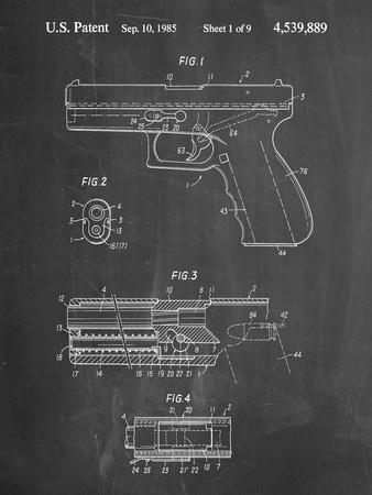 PP154- Chalkboard Handgun Pistol Patent Poster-Cole Borders-Framed Giclee Print