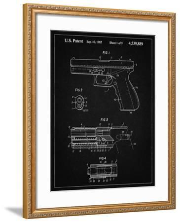 PP154- Vintage Black Handgun Pistol Patent Poster-Cole Borders-Framed Giclee Print