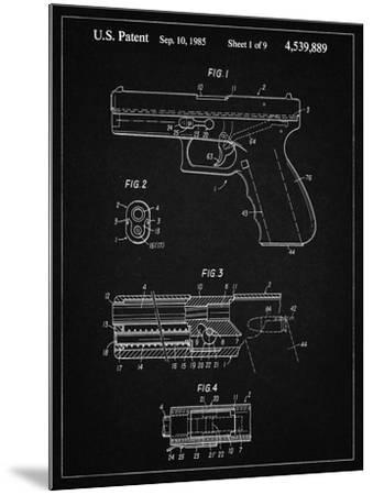 PP154- Vintage Black Handgun Pistol Patent Poster-Cole Borders-Mounted Giclee Print