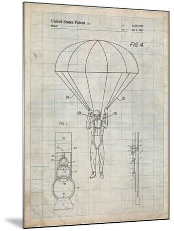 PP187- Antique Grid Parchment Parachute 1982 Patent Poster-Cole Borders-Mounted Giclee Print
