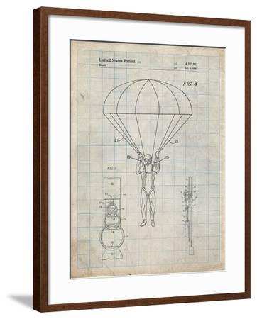 PP187- Antique Grid Parchment Parachute 1982 Patent Poster-Cole Borders-Framed Giclee Print