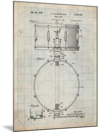 PP147- Antique Grid Parchment Slingerland Snare Drum Patent Poster-Cole Borders-Mounted Giclee Print