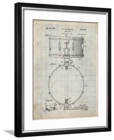 PP147- Antique Grid Parchment Slingerland Snare Drum Patent Poster-Cole Borders-Framed Giclee Print