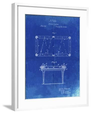 PP149- Faded Blueprint Pool Table Patent Poster-Cole Borders-Framed Giclee Print