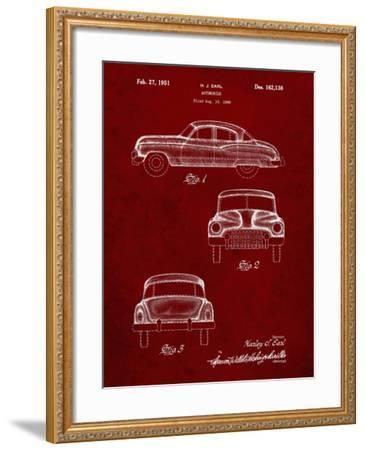 PP134- Burgundy Buick Super 1949 Car Patent Poster-Cole Borders-Framed Giclee Print
