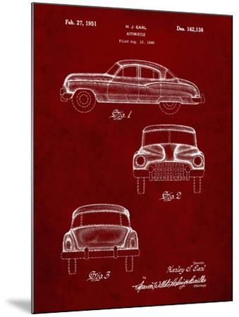 PP134- Burgundy Buick Super 1949 Car Patent Poster-Cole Borders-Mounted Giclee Print