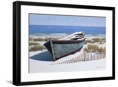 Blue Boat on Beach-Zhen-Huan Lu-Framed Giclee Print
