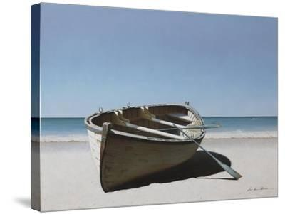 Lonely Boat on Beach-Zhen-Huan Lu-Stretched Canvas Print