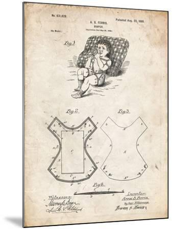 PP317-Vintage Parchment Cloth Baby Diaper Patent Poster-Cole Borders-Mounted Giclee Print