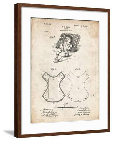 PP317-Vintage Parchment Cloth Baby Diaper Patent Poster-Cole Borders-Framed Giclee Print