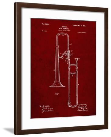 PP261-Burgundy Slide Trombone Patent Poster-Cole Borders-Framed Giclee Print