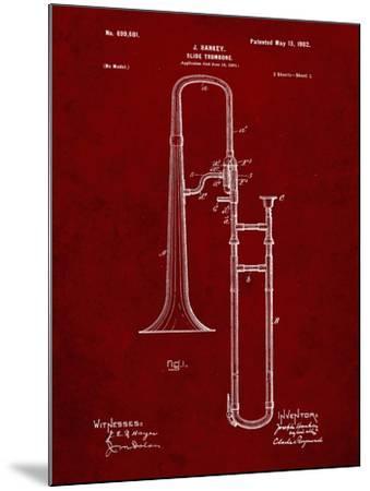 PP261-Burgundy Slide Trombone Patent Poster-Cole Borders-Mounted Giclee Print