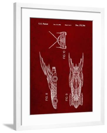PP311-Burgundy Batman and Robin Batmobile Patent Poster-Cole Borders-Framed Giclee Print
