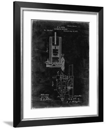 PP304-Black Grunge Combustible 4 Cycle Engine Otto 1877 Patent Poster-Cole Borders-Framed Giclee Print
