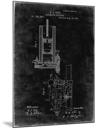 PP304-Black Grunge Combustible 4 Cycle Engine Otto 1877 Patent Poster-Cole Borders-Mounted Giclee Print