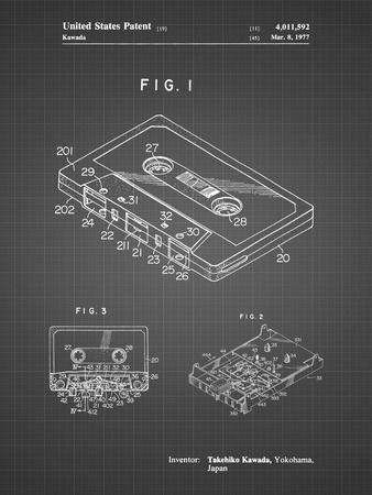 PP319-Black Grid Cassette Tape Patent Poster-Cole Borders-Framed Giclee Print