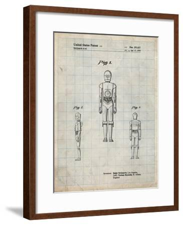 PP195- Antique Grid Parchment Star Wars C-3PO Patent Poster-Cole Borders-Framed Giclee Print