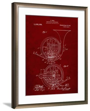 PP188- Burgundy French Horn 1914 Patent Poster-Cole Borders-Framed Giclee Print