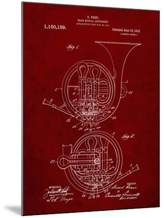 PP188- Burgundy French Horn 1914 Patent Poster-Cole Borders-Mounted Giclee Print