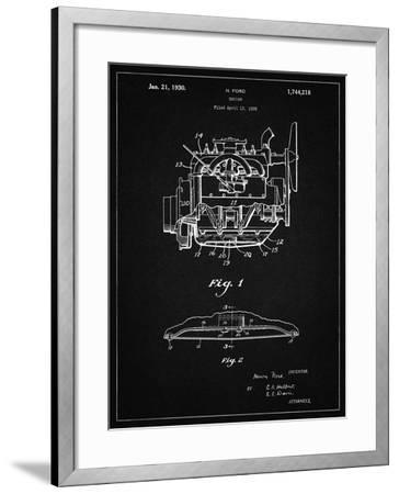 PP220-Vintage Black Model A Ford Pickup Truck Engine Poster-Cole Borders-Framed Giclee Print