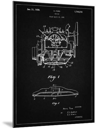 PP220-Vintage Black Model A Ford Pickup Truck Engine Poster-Cole Borders-Mounted Giclee Print