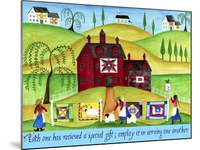 Red Barn Quilt House-Cheryl Bartley-Mounted Giclee Print